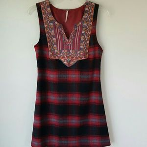 FREE PEOPLE Boho & Plaid Jumper Dress-XS